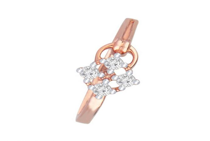 Delicate Contemporary Daily Wear 14kt Rose Gold Diamond Ring -DM008RNGAR014095