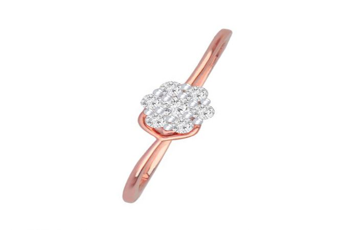 Dazzle Cluster Daily Wear 18kt Rose Gold Diamond Ring -DM008RNGAR014096
