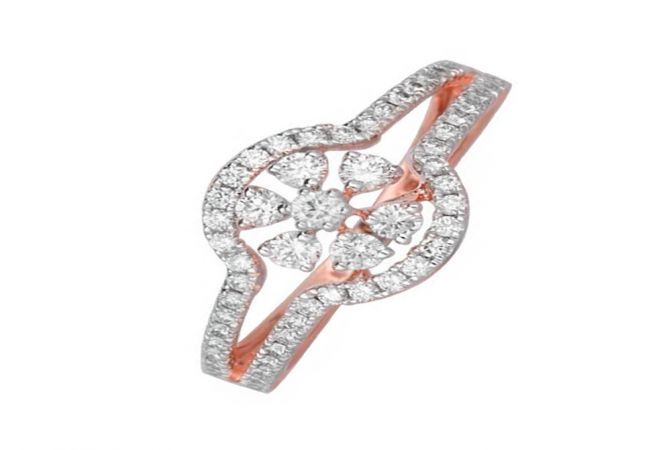Elegant Daily Wear 14kt Rose Gold Diamond Ring -DM014RNGSJR14092