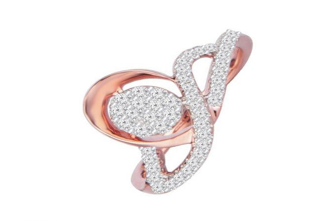 Ravishing Cluster Wavy 14kt Rose Gold Diamond Ring -DM014RNGSJR8978