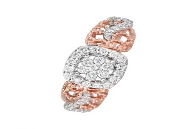 Traditional Cutout 14kt Rose Gold Diamond Ring -DM015RNGKLR0781