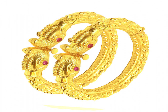 Ceremonial Textured Gemstone Openable Gold Bangles (Set Of Two)