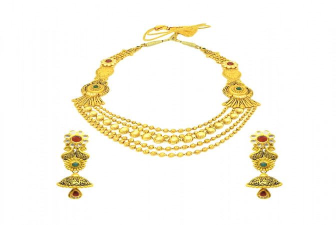 Antique Textured Paisley Multilayered Wedding Yellow Gold 22kt Natural Multicolour Stones Necklace Set -145-NS1447