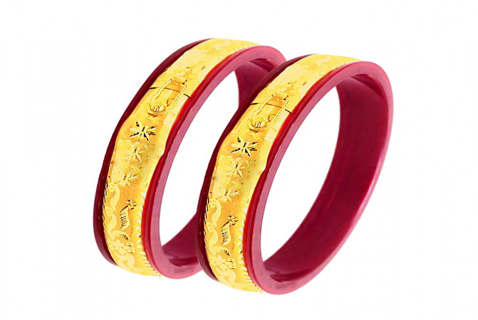 Traditional Textured Synthetic Pola Openable Bangles (Set Of Two) -PCHU188