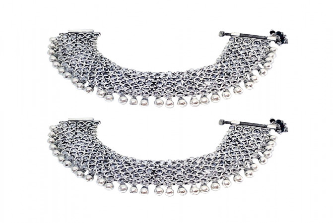 Ceremonial Textured Silver Anklet -PYL4145