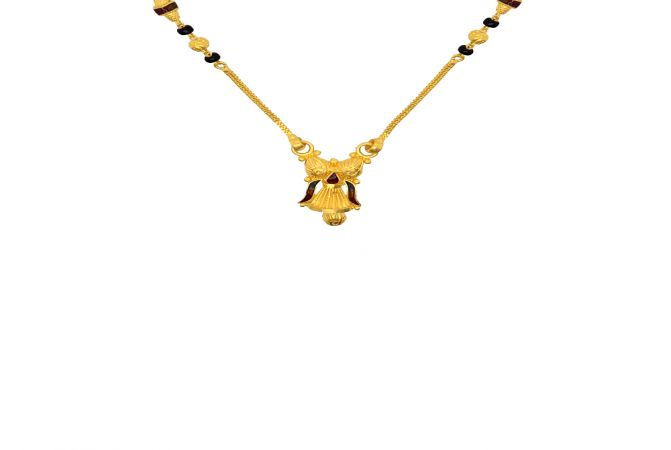 Traditional Enamel Bead Textured Gold Mangalsutra