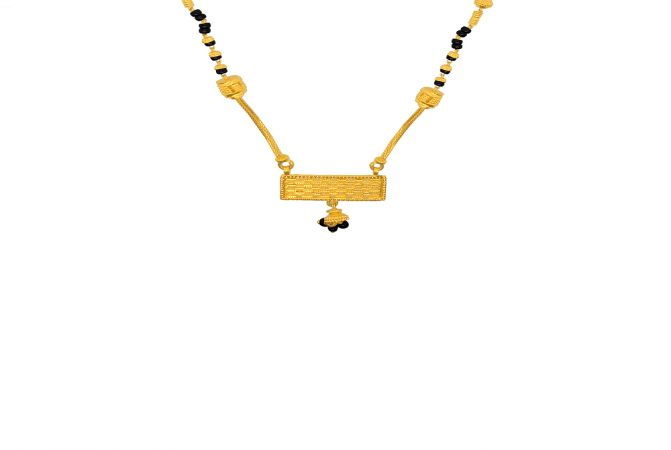 Traditional Textured Geometric Bead Gold Mangalsutra