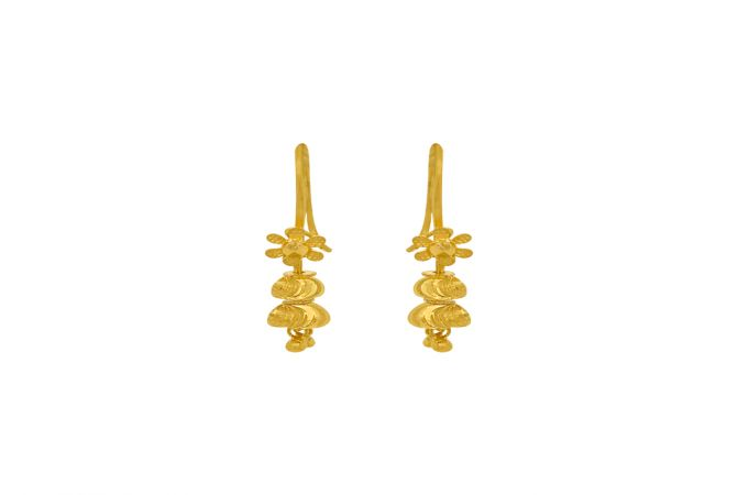 Traditional Textured Floral Helix Gold Earrings