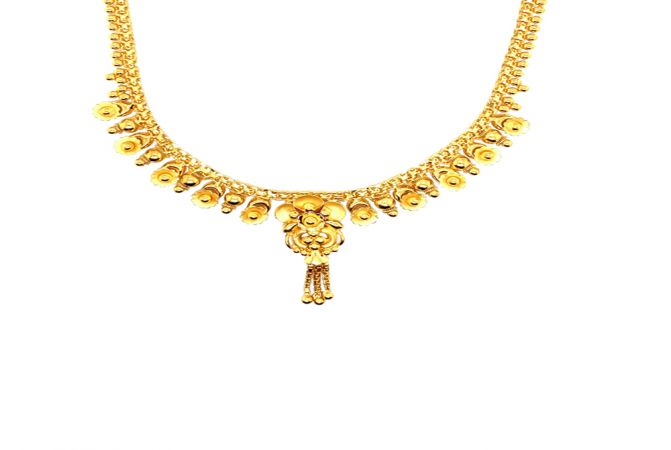 Traditional Textured Floral Dangler Gold Necklace