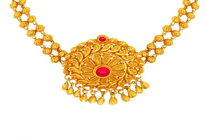 Ceremonial Textured Paisley Gemstone Gold Necklace