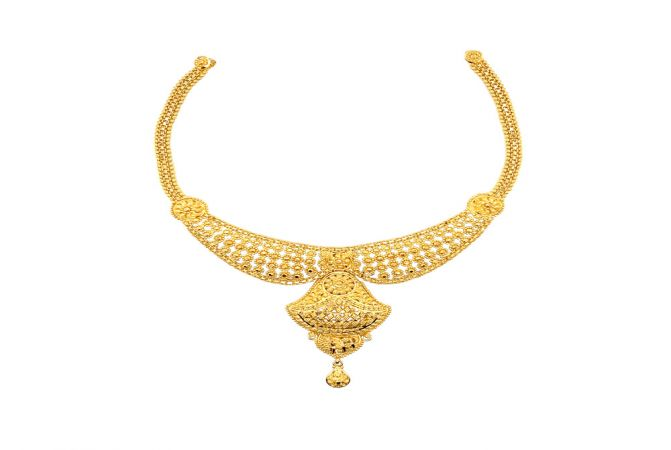 Traditional Embossed Bead Gold Necklace