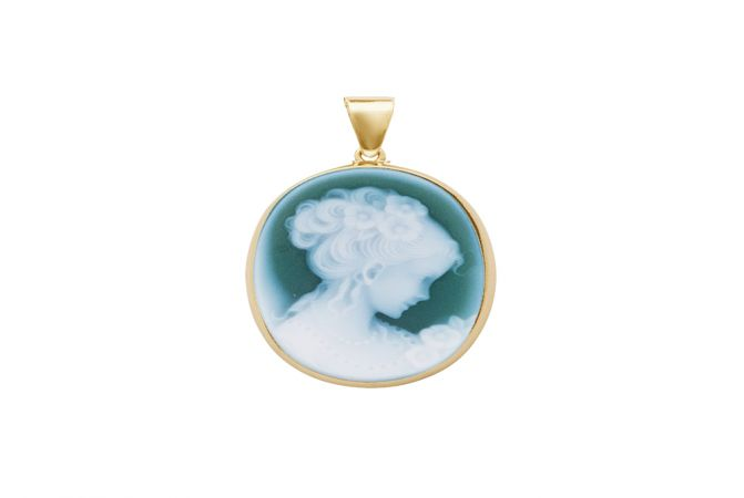 Trendy Natural Green Agate Lady Cameo Gold Pendant -PNL322_G_25x18_Gold
