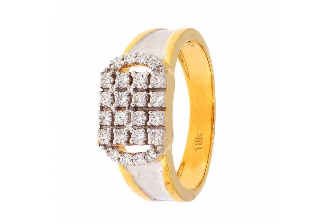 Glittering Prong Set Rhodium Polish Diamond Ring