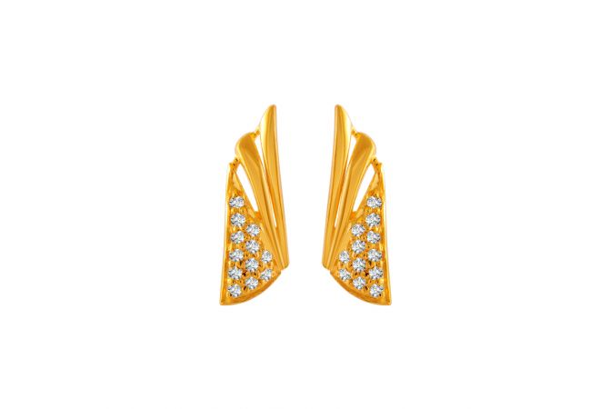 Elegant Conical Design With CZ Studded Gold Earrings