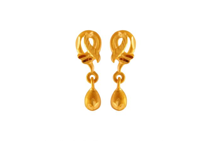 Glossy Matte Finish Curvy Drop Design Gold Earrings