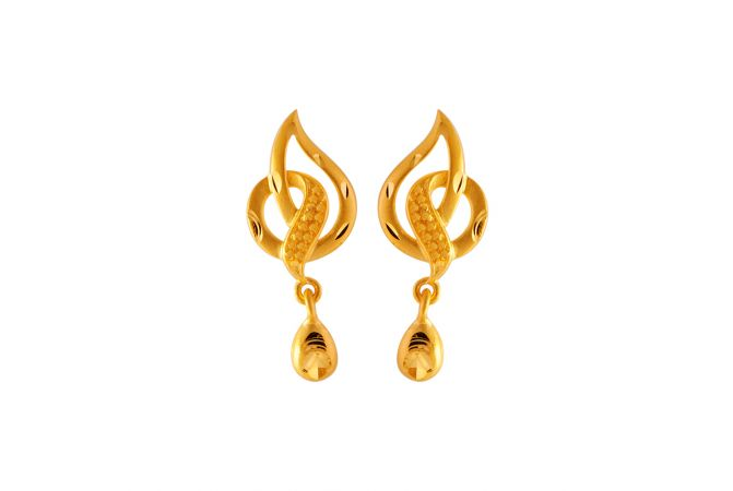 Glossy Diamond Cut Curvy Paisley Drop Design Gold Earrings