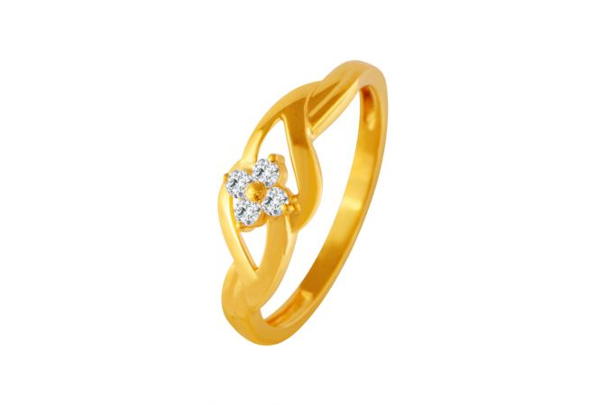 Glitter Floral CZ Gold Ring