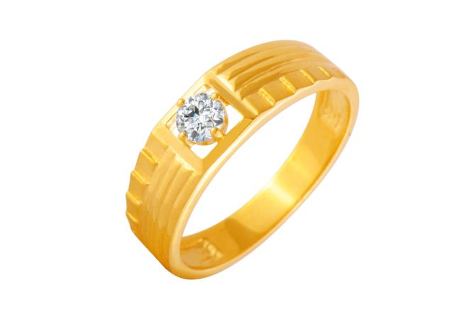 Stunning Textured CZ Diamond Ring For Him