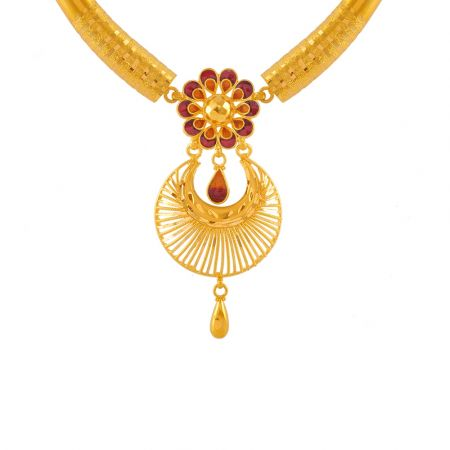 Superb Fleur Traditional Gold Necklace