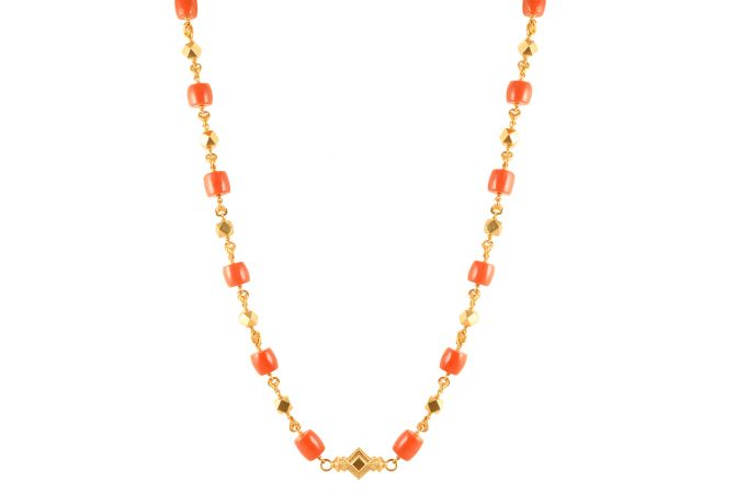 22kt Gold Coral With Balck Beads Chain - 26255
