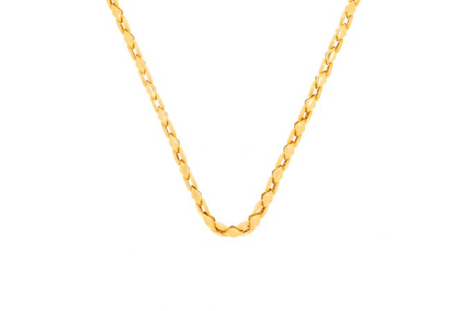 Glossy Finish Curb Linked Design Gold Chain