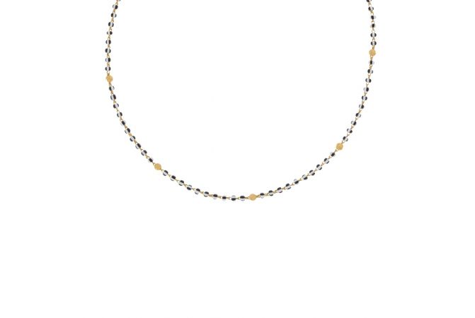 Glossy Finish Two Colour Synthetic Beads With Diamond Cut Gold Ball Chain-29382