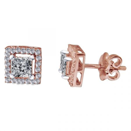 18kt Rose Gold Pave Prong Set Cluster With Princess Cut  Solitaire Diamond Square Earring-2SGE6