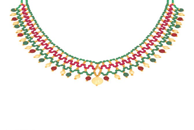 Classical Gemstone Bead Gold Necklace