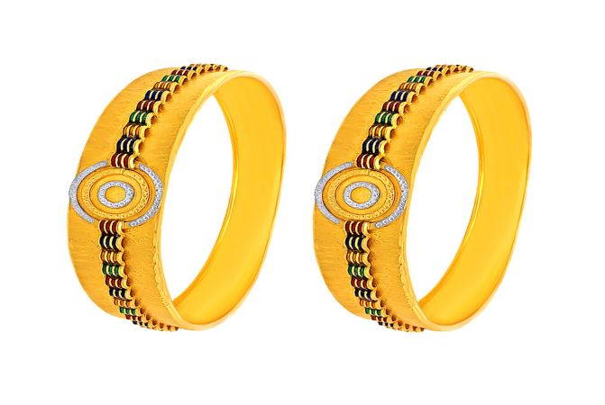 Traditional Enamel Textured Gold Bangle (Set Of Two)