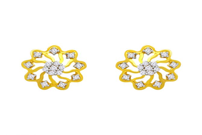 Delicate CZ Floral Stud Gold Earrings