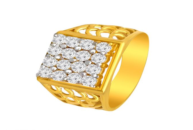 Sparkle Cutout Cluster CZ Diamond Gold Ring For Him