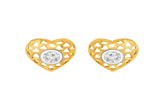 Elegant Heart Cutout Single CZ Gold Earrings