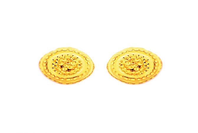 Traditional Embossed Gold Earring