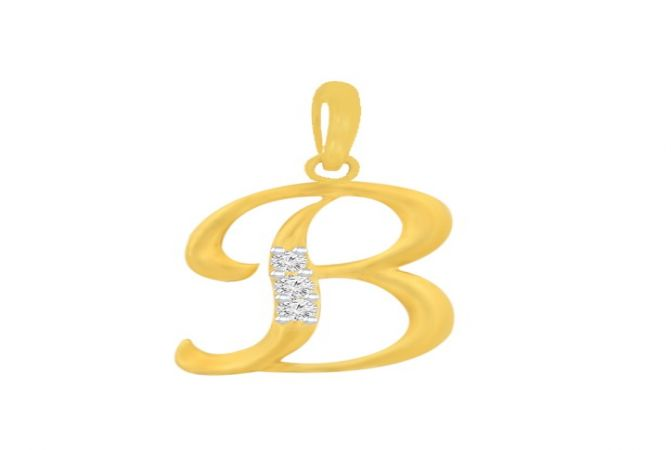 Brilliant B Alphabets CZ Gold Pendant