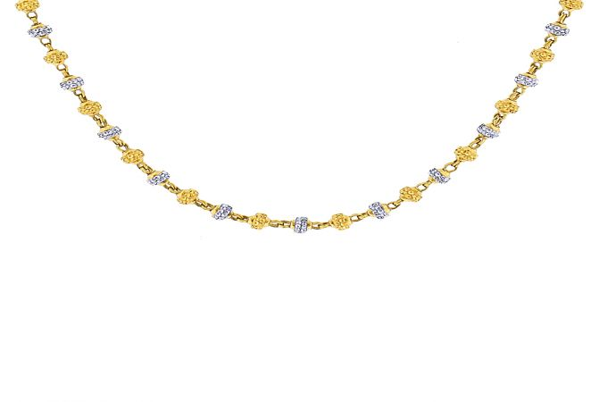 Traditional Embossed Rhodium Polish Gold Ball Bead Necklace