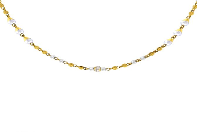 Dainty Fancy Link Bead Gold Necklace