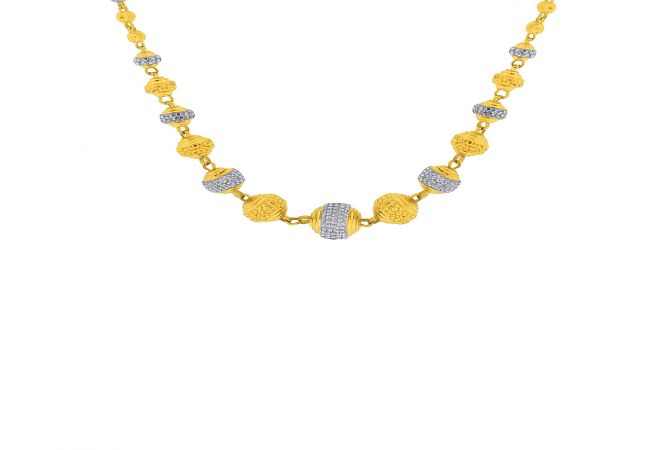 Fancy Gold Ball With Rodium Polish Bead Gold Necklace