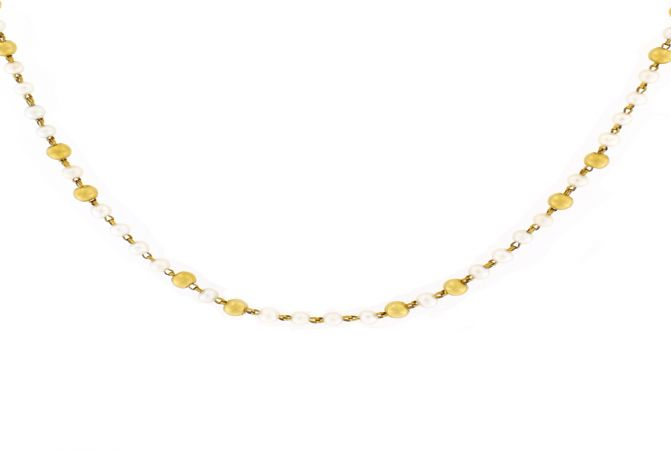 Delicate Pearl Gemstone Bead Gold Necklace