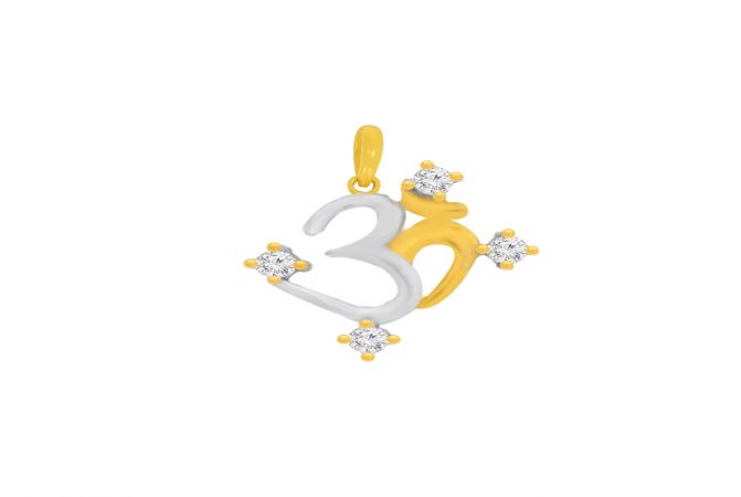 Eternal Om CZ Gold Pendant For Him