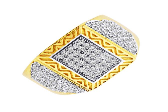 Traditional Cluster CZ Diamond Gold Ring For Him