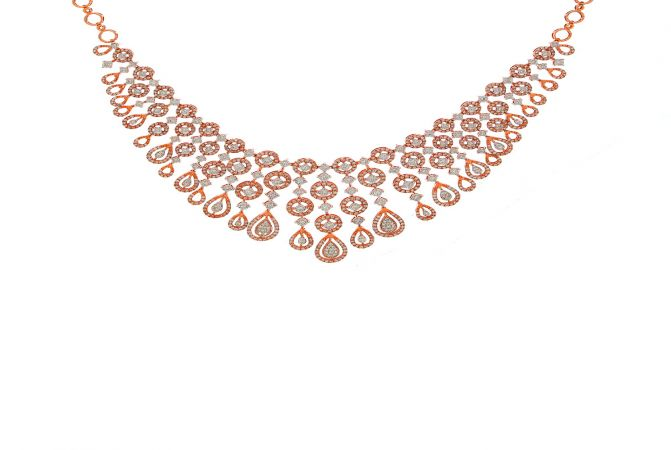 Dazzling Drop Cluster Diamond Gold Necklace