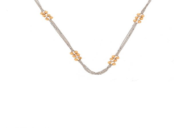 Trendy Cable Hollow Ball Textured Two Tone Multi Strand Gold Chain