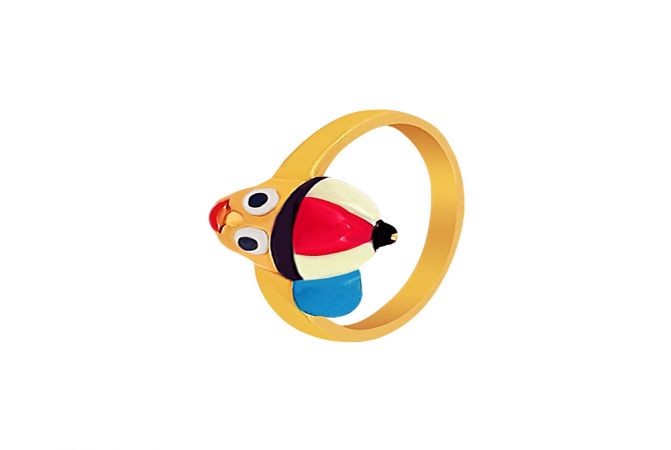 Elegant Enamel Boy Gold Ring For Infant