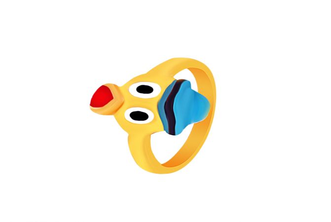 Charm Enamel Donald Duck Infant Gold Ring
