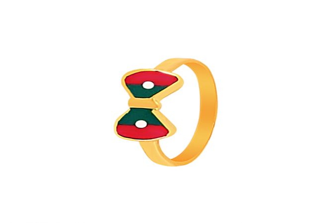 Elegant Enamel Bow Gold Ring For Baby