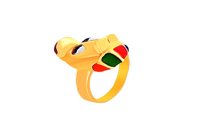 Delicate Enamel Donald Duck Baby Gold Ring