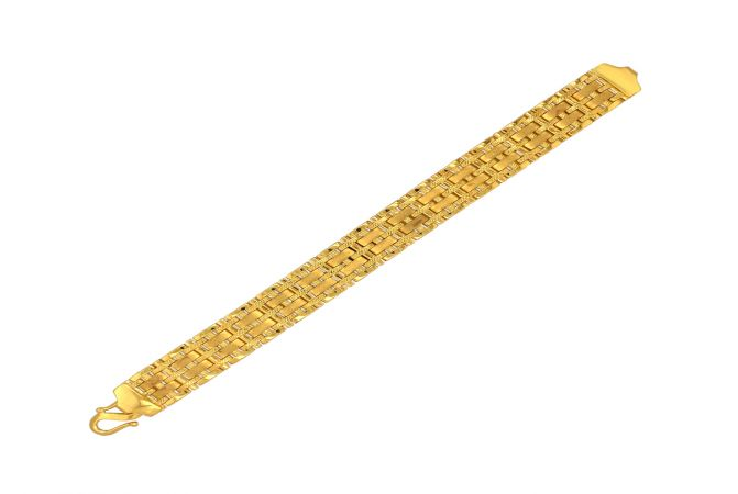 Traditional Textured 22kt Yellow Gold Chain Bracelet -BRT2369