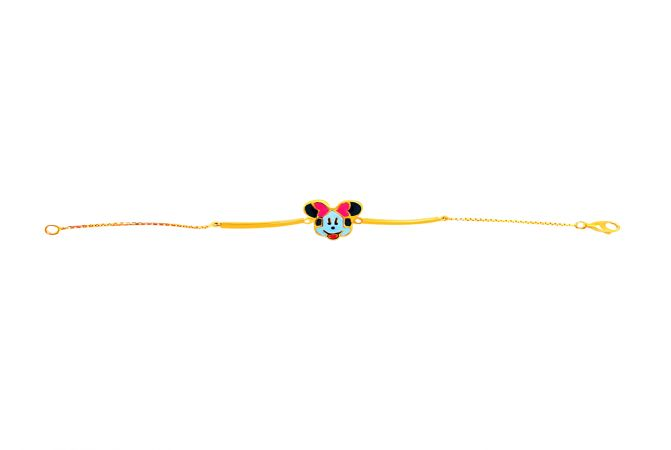 Elegant Enamel Minnie Mouse Infant Gold Bracelet