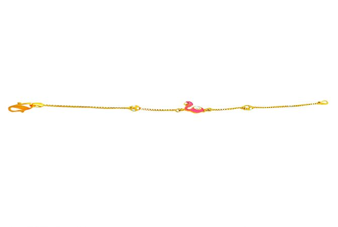 Delight Enamel Swan Gold Bracelet For Kids