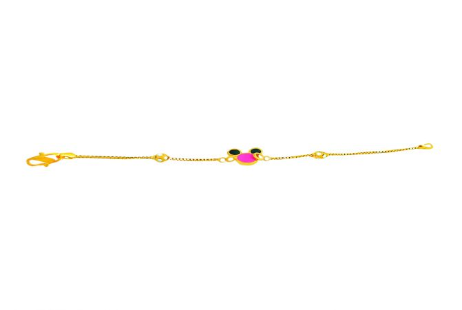 Fancy Enamel Mickey Mouse Gold Bracelet For Infant